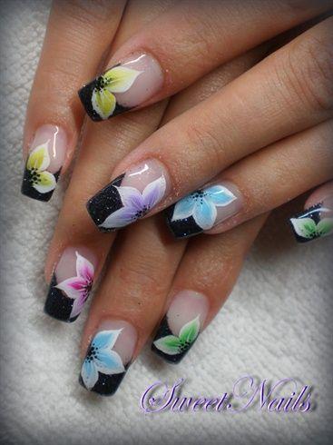 French Nail Art With Rainbow Tips Omg Love Beauty