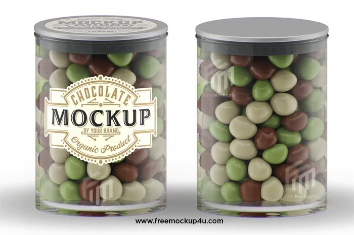 Jar With Chocolate Balls Mockup PSD