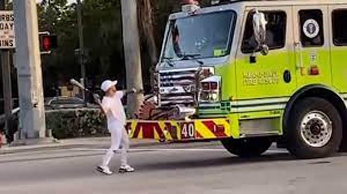 Arrestan a Yomil Hidalgo por atacar con un bate de beisbol un camión de bomberos en Miami