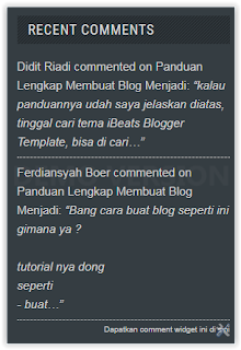 Cara Membuat Recent Comments DI Blogger