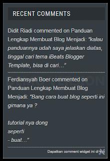 Cara Membuat Recent Comments DI Blogger