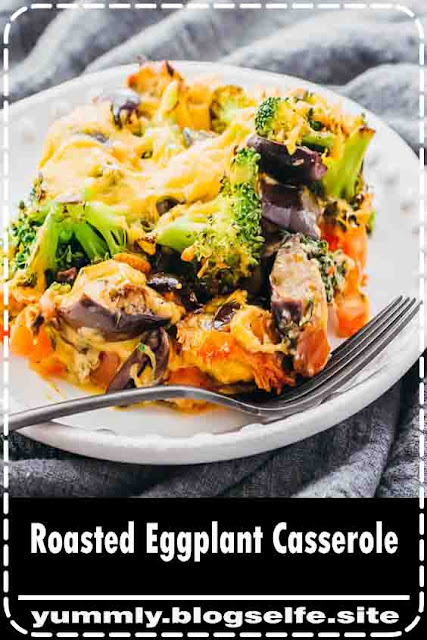 This simple and easy baked eggplant casserole is one of my favorite vegetarian main dishes. It's packed with veggies like broccoli and tomatoes, and topped with a cheesy layer. It's also low carb, keto, and gluten free. Great for families looking for healthy recipes for Meatless Monday. #healthy #lowcarb #keto #vegetarian #dinner #easydinner