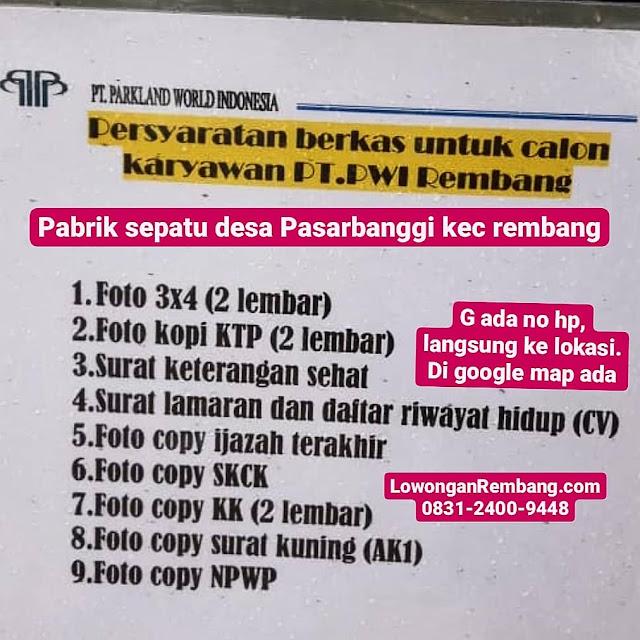 Lowongan Kerja Karyawan Pabrik Sepatu PT Parkland World Indonesia Rembang
