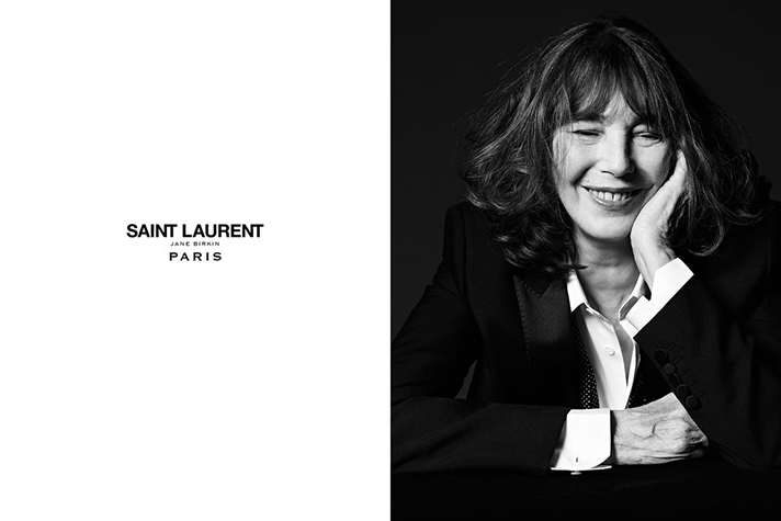Jane Birkin photographed by Hedi Slimane for Saint Laurent Le Smokin Spring 2016 campaign / fashion news via www.fashionedbylove.co.uk