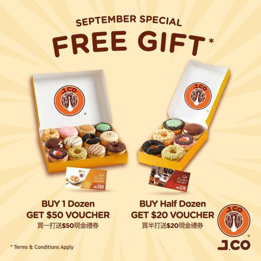 J.CO Donuts & Coffee: 買一打/半打冬甩 送$50/$20現金券 至9月27日
