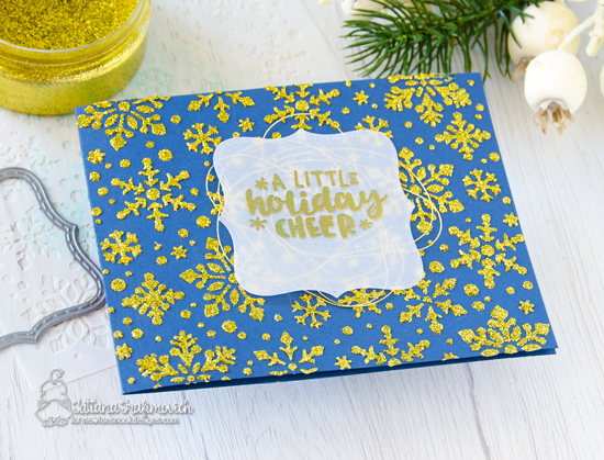 Newton's Nook Designs & Therm O Web Inspiration Week - Gold Glitter Christmas card by Tatiana Trafimovich | Snowfall Stencil and Ornamental Wishes Stamp Set by Newton's Nook Designs | Glitter Glitz Gel by Therm O Web #newtonsnook #thermoweb