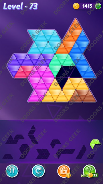 Block! Triangle Puzzle 10 Mania Level 73 Solution, Cheats, Walkthrough for Android, iPhone, iPad and iPod