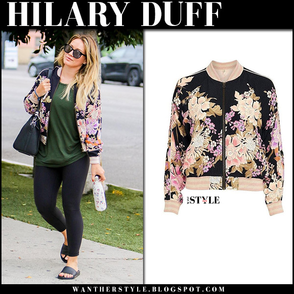 Hilary Duff in floral print bomber jacket spell gypsy collective august 24 celebrity fashion