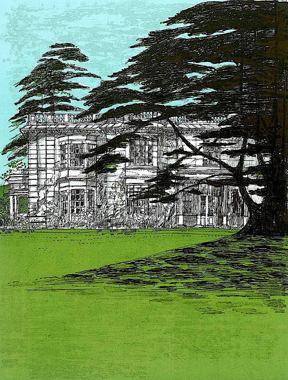 Richard Beer art 1972, an estate home exterior with an old tree