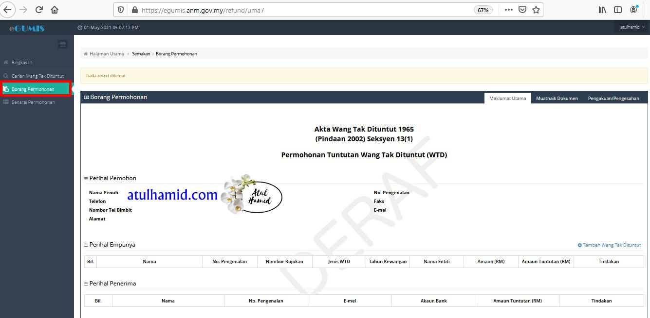 Cara semak Wang Tak Dituntut (WTD) melalui online