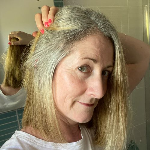 side shot of grey hair