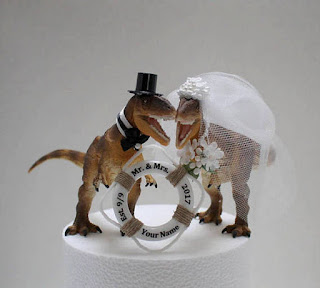 Unique Dinosaur Wedding Cake Topper