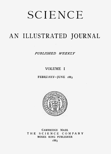 Cover of the first volume of Science