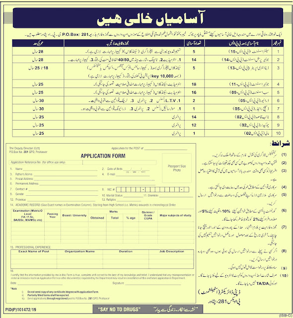 Federal Government Department Latest Jobs 2019 | P.O Box 281 Peshawar