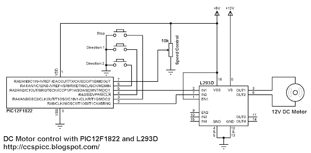 DC Motor control circuit using PIC12F1822 and L293D