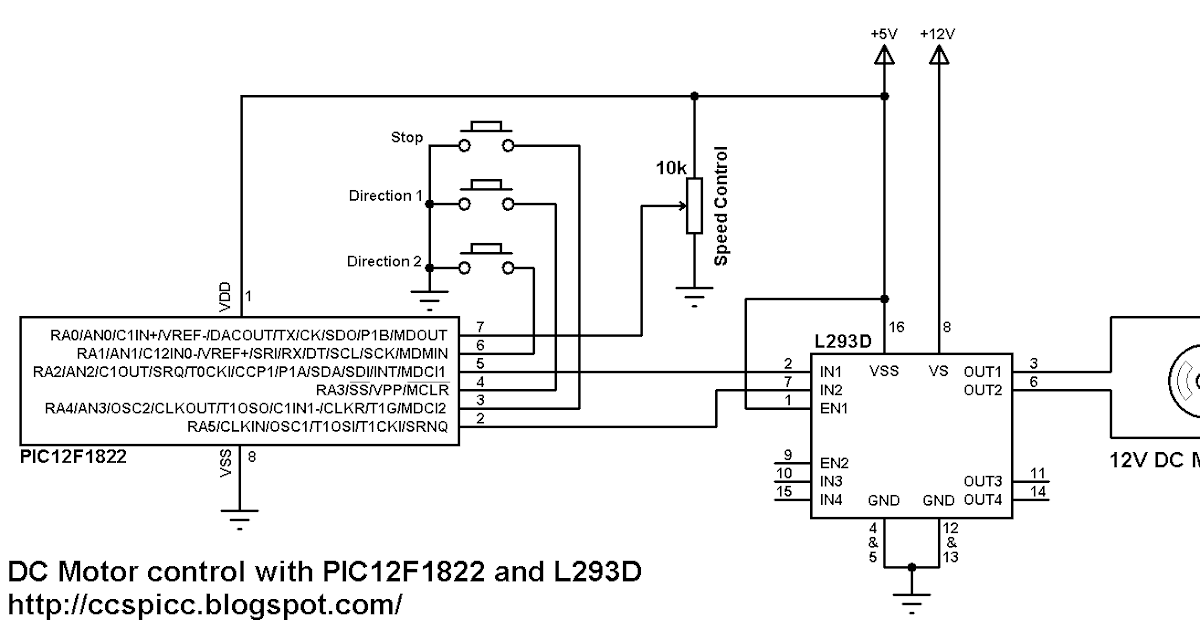 DC Motor control using PIC12F1822 and L293D