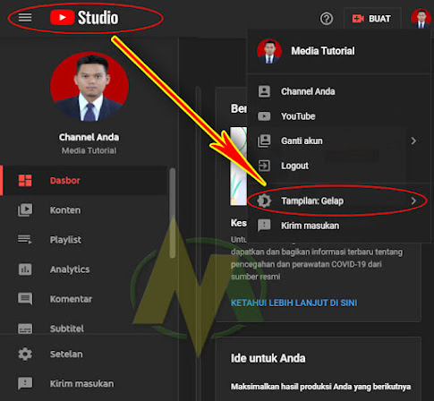 Kabar Baik Tema Mode Gelap Atau Mode Dark Youtube Studio Telah Hadir Di Laptop Atau PC Komputer.