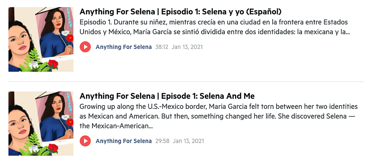 website podcast example: Anything for Selena