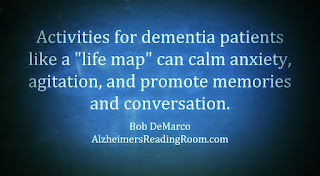 """Activities for dementia patients life a ""life map"" can calm anxiety, agitation and promote memories and conversation"""