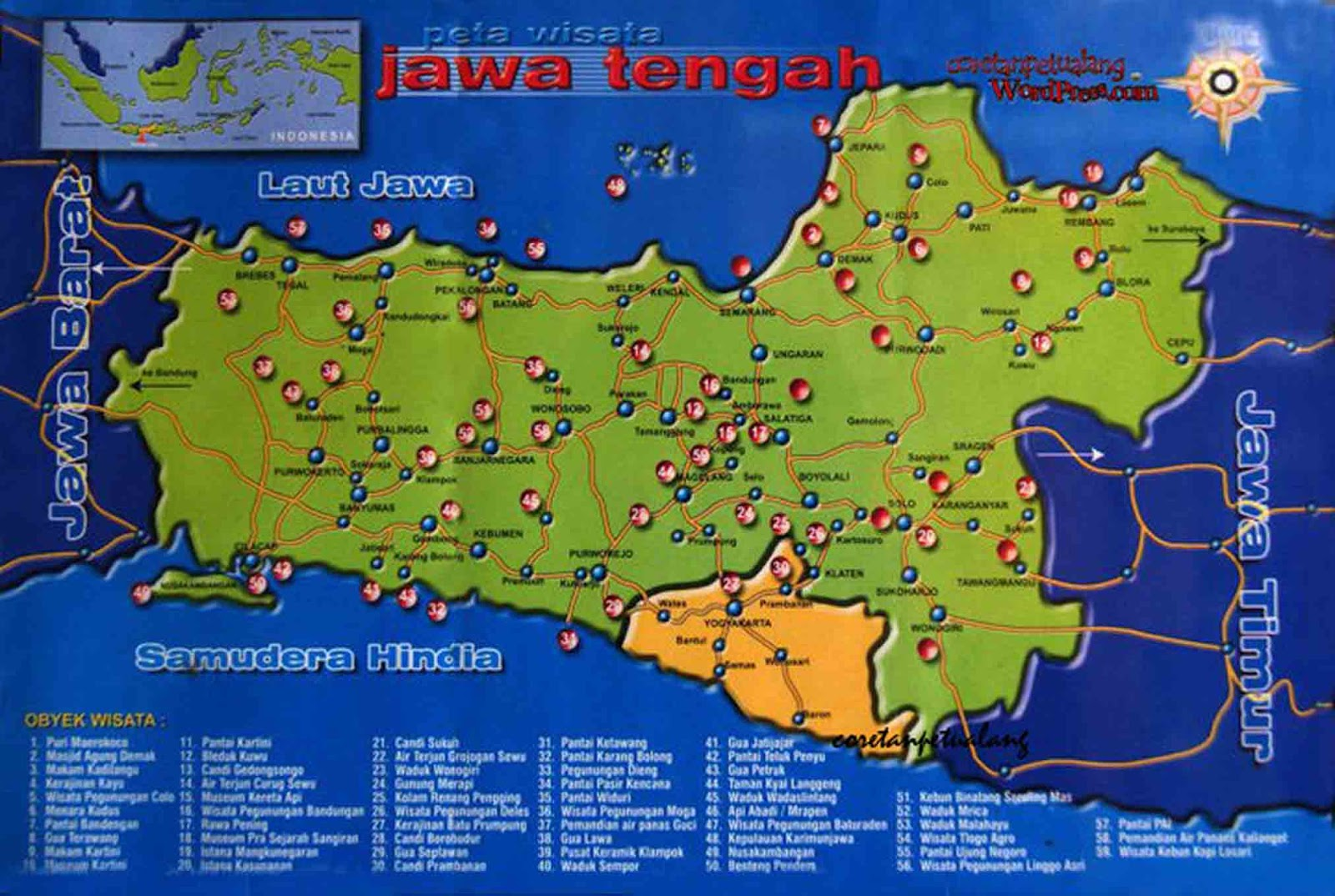 > Peta Lengkap Indonesia: Peta Wisata Jawa Tengah