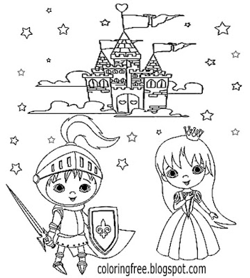Cute easy printables ideas medieval cartoon castle prince and princess coloring book pages for girls