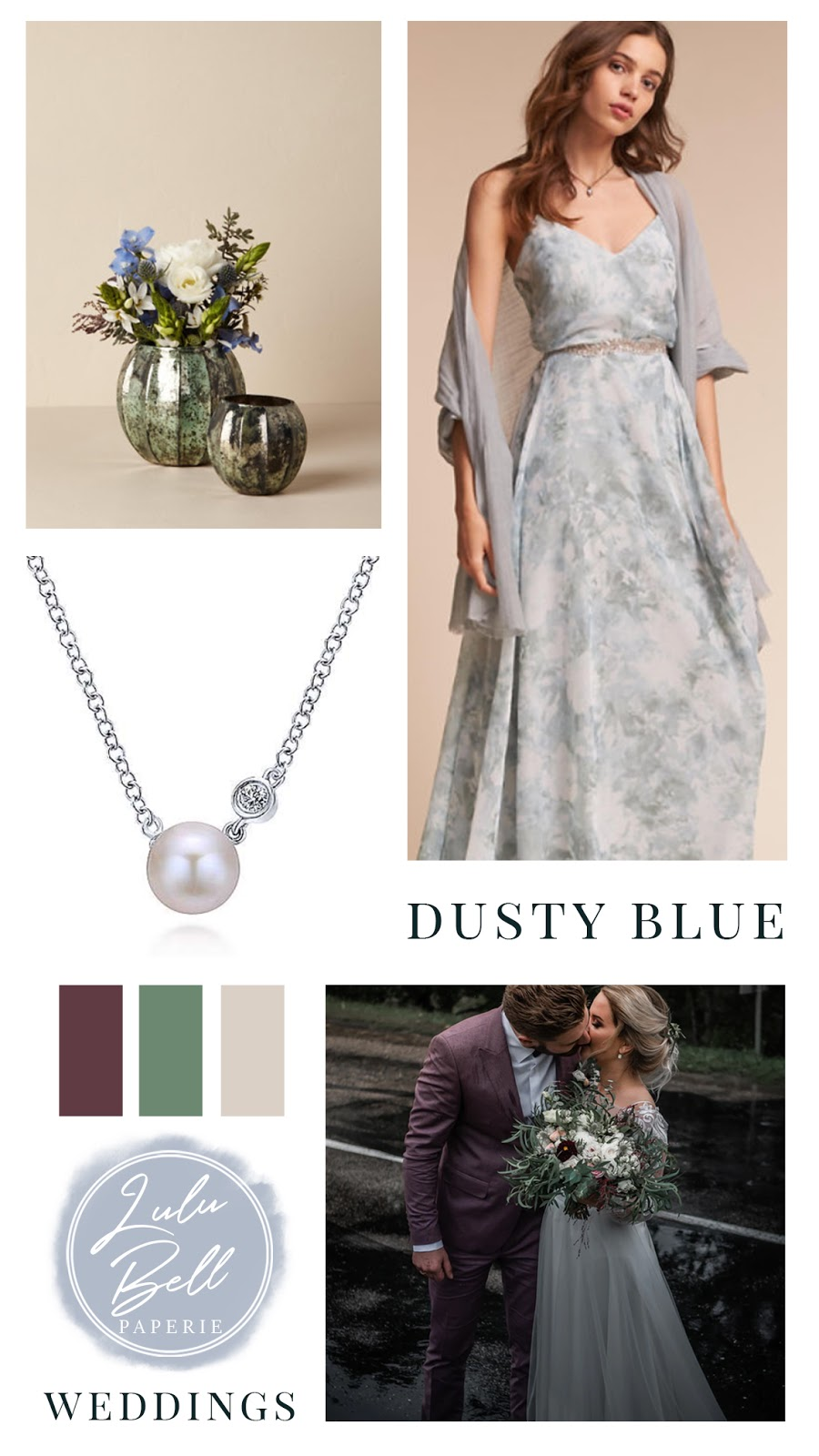 Dusty Blue, Burgundy, Green, and Beige Wedding Color Palette Inspiration