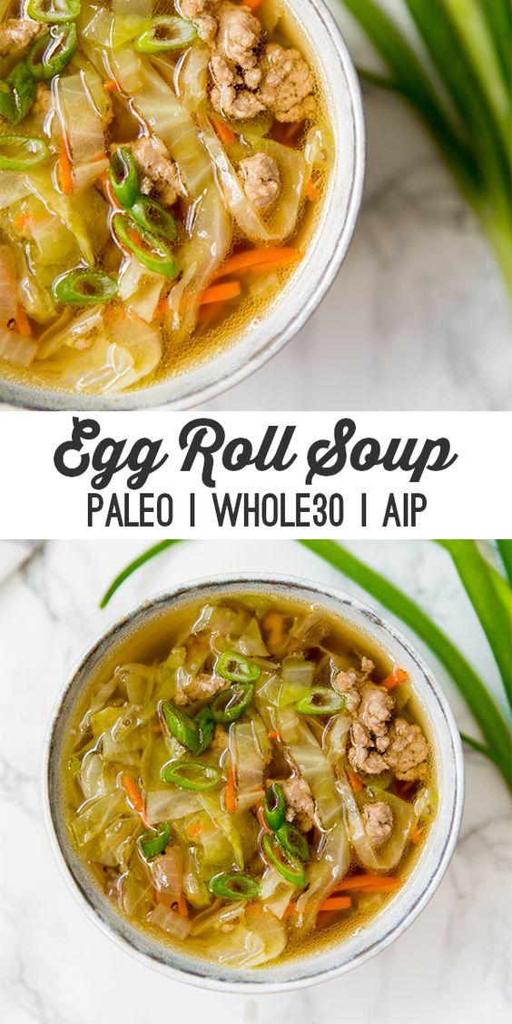 Paleo Egg Roll Soup (whole30, aip) #paleo #egg #roll #soup