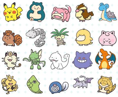 Pokémon Smile artwork Pikachu Snorlax Slowpoke Pidgey Lapras Vulpix Onix Exeggutor Psyduck Jigglypuff Mewoth Scyther Dewgong Gengar Charizard Electabuzz Metapod Poliwag Aerodactyl Sandshrew
