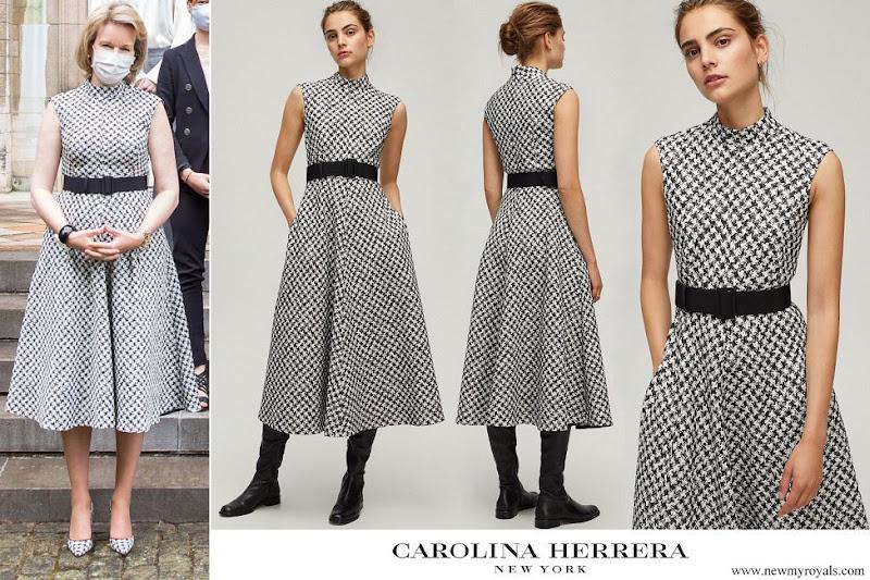Queen Mathilde wore CH Carolina Herrera Houndstooth Dress