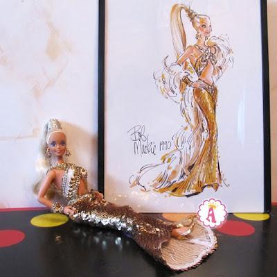 Коллекционная барби 1990-х в золотистом платье Боб Маки