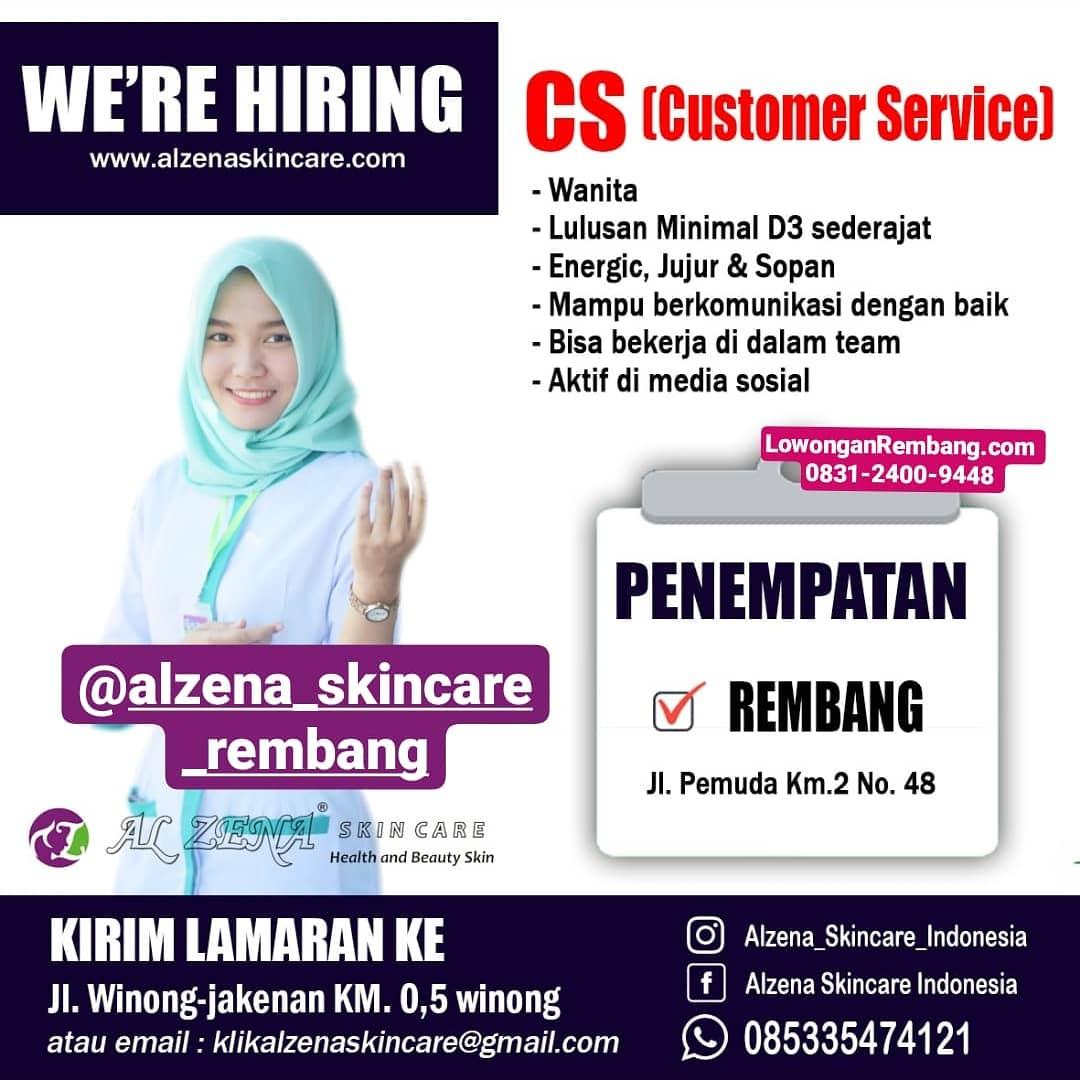 Lowongan Kerja Customer Service Alzena Skincare Rembang