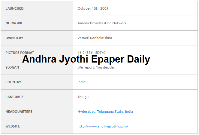 Andhra Jyothi News Paper Daily epaper in Telugu