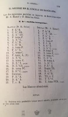 Partida de ajedrez Hilarió Soler vs. S. Hamel