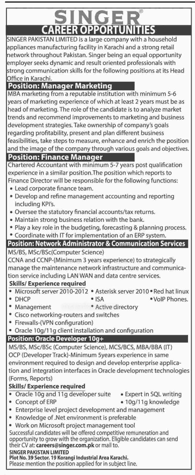 Singer Pakistan Limited Karachi Jobs 30 9 2016