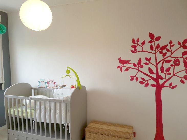 chambre de bébé motif peint sur le mur