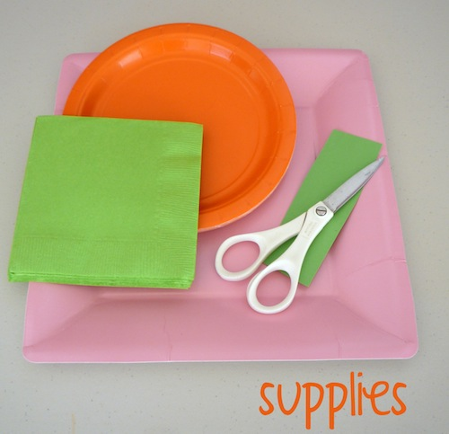 Pink Square paper dinner plates · Orange paper dessert plates · Kiwi beverage napkins. Green card. Scissors Hand-drawn template of a pumpkin leaf ... & That Cute Little Cake: Craft Pumpkin Plates