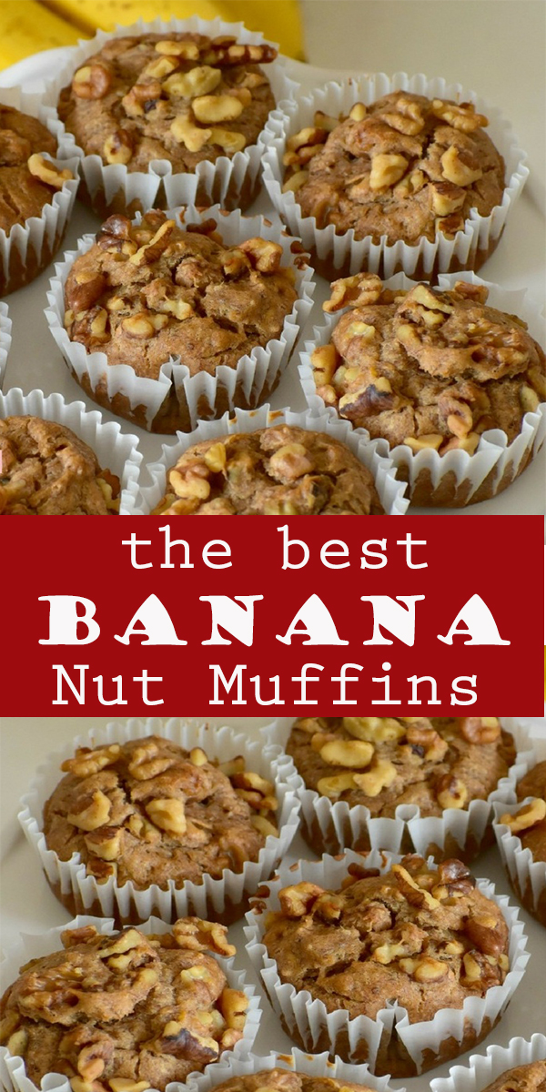 Banana Nut Muffins #Banana #Nut #Muffins #BananaNutMuffins