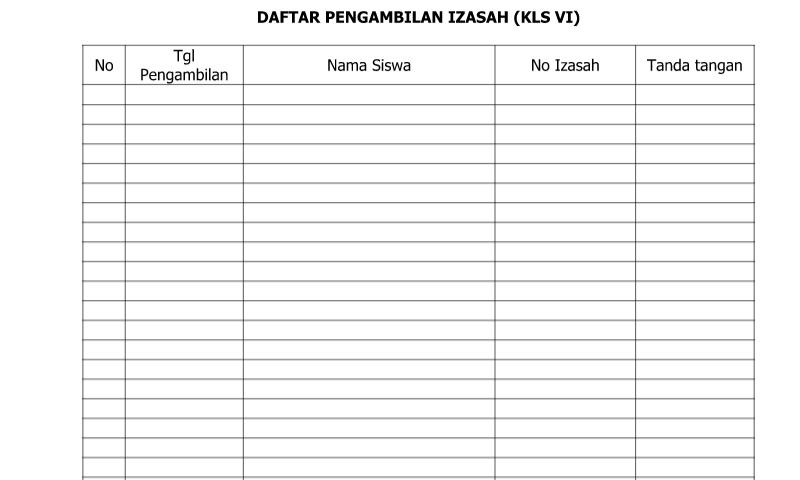 Contoh Bentuk Daftar Pengambilan Ijazah untuk Kelas VI pada bagian Administrasi Guru Sekolah Format Ms. Word (doc/docx)