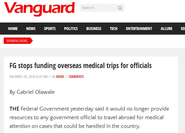 Check out what president Buhari said about foreign medical trips in April 2016