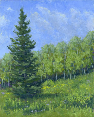art painting landscape nature mountain evergreen spring aspen