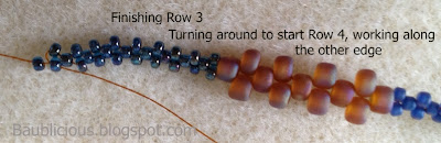 Starting Row 4, freeform bracelet tutorial by Karen Williams, copyright 2013