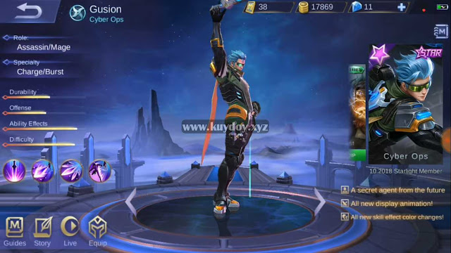 Script Skin Gusion Starlight Cyber Ops Mobile Legends