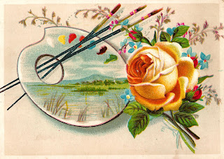 flower rose painting easel printable digital crafting element