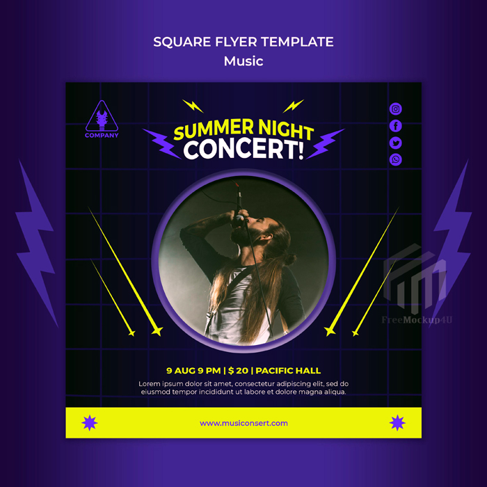 Neon Square Flyer Template Summer Night Concert