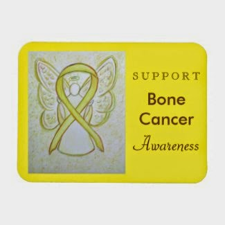 Bone Cancer Awareness Yellow Ribbon Guardian Angel Custom Magnet Rectangular Refrigerator Photo Magnets