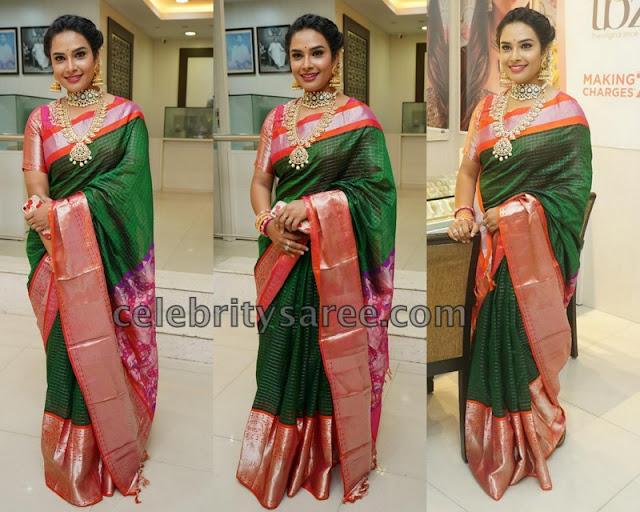 Hari Teja in Green Silk Saree