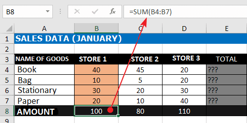 Sum Down Excel Formula With SUM Function