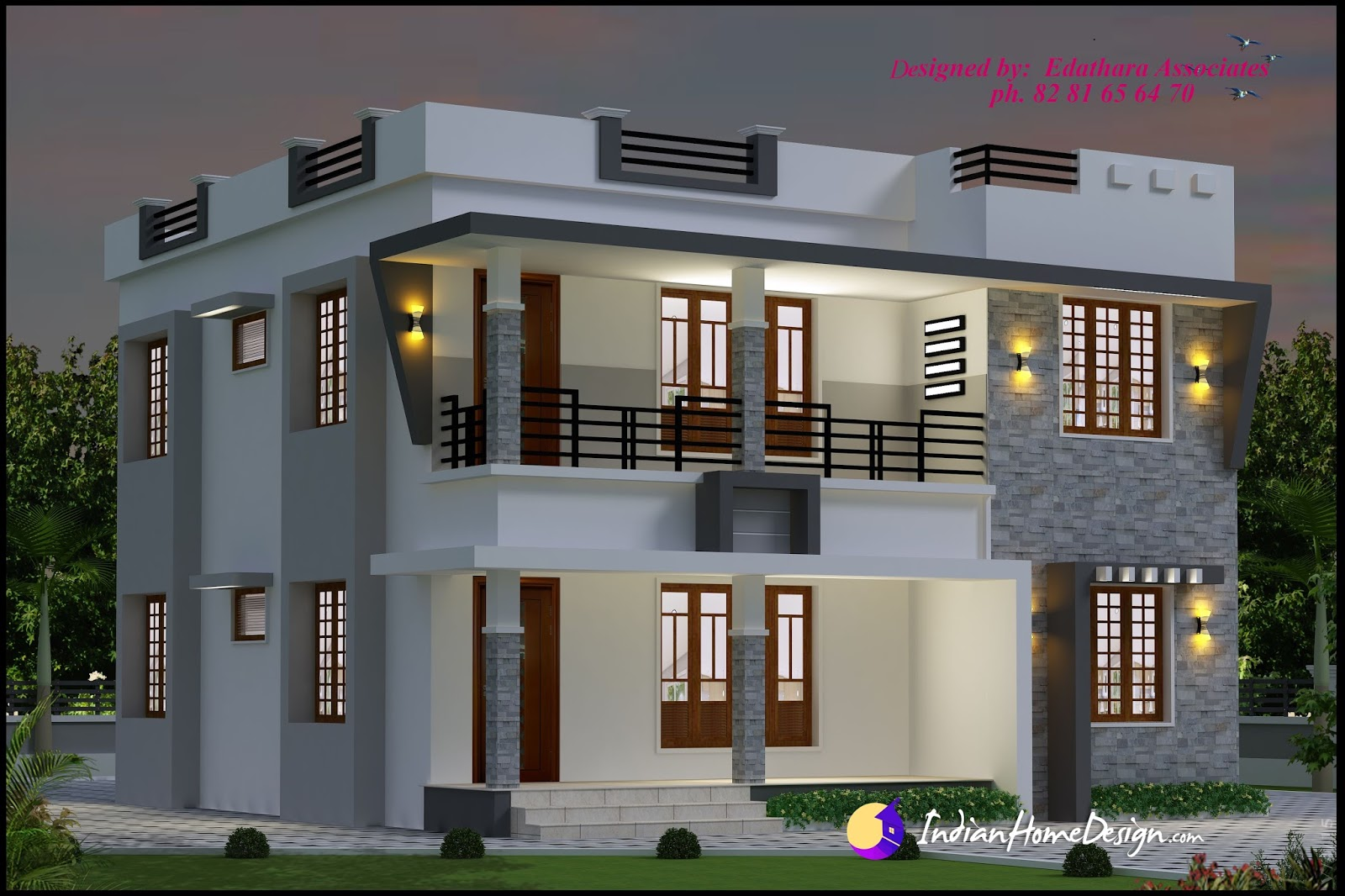 1696 sqft modern double floor kerala home design indian for Modern 3 bedroom house design