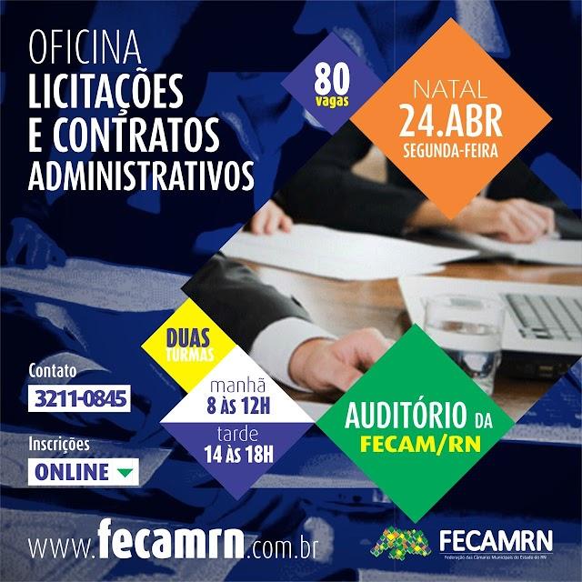 Fecam-RN abre inscrições para oficina de licitações e contratos administrativos