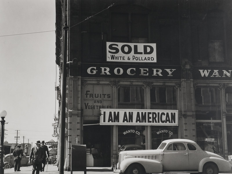 "Japanese Internment Camps ""I AM AN AMERICAN""  Owned Grocery Store, Oakland California, March 1942"